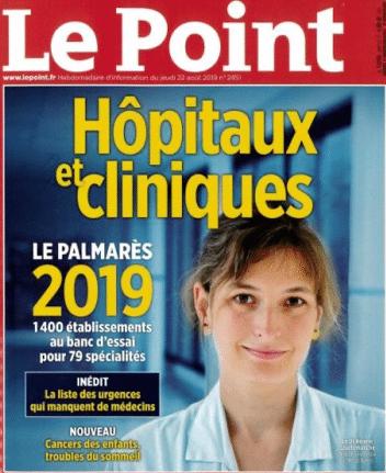 Presse : Le Point fait sa Une sur le classement des hôpitaux et des cliniques 2019