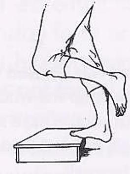 Protocole de Stanish : exercice de montée de marche en appui sur l'avant du pied